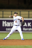 Glendale Desert Dogs infielder Corey Seager (12) during an Arizona Fall League game against the Peoria Javelinas on October 13, 2014 at Camelback Ranch in Phoenix, Arizona.  The game ended in a tie, 2-2.  (Mike Janes/Four Seam Images)