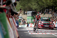 Dylan Theuns (BEL/Bahrein-Merida) finishing 2nd on the stage and becoming the new GC leader<br /> <br /> Stage 6: Mora de Rubielos to Ares del Maestrat (199km)<br /> La Vuelta 2019<br /> <br /> ©kramon
