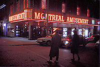 1984 File Photo - Montreal (qc) CANADA Sainte-Catherine Street shopping area in downtown Montreal, at night.