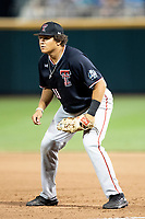 Texas Tech Red Raiders first baseman Cameron Warren (11) on defense during Game 9 of the NCAA College World Series against the Florida State Seminoles on June 19, 2019 at TD Ameritrade Park in Omaha, Nebraska. Texas Tech defeated Florida State State 4-1. (Andrew Woolley/Four Seam Images)