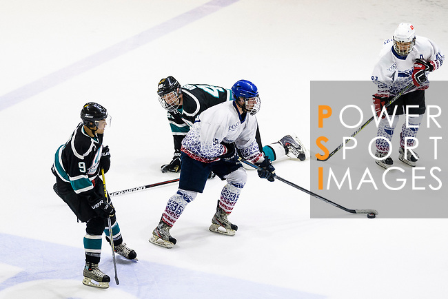 Axel Benet of Flying French (C) in action during the Mega Ice Hockey 5s match between Flying French and Cathay Flyers on May 03, 2018 in Hong Kong, Hong Kong. Photo by Marcio Rodrigo Machado / Power Sport Images
