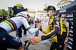 Edoardo Affini (ITA) Jumbo-Visma congratulates World Champion Filippo Ganna (ITA) Ineos Grenadiers after he wins Stage 1 of the 2021 Giro d'Italia, and individual time trial running 8.6km around Turin, Italy. 8th May 2021.  <br /> Picture: LaPresse/Marco Alpozzi   Cyclefile<br /> <br /> All photos usage must carry mandatory copyright credit (© Cyclefile   LaPresse/Marco Alpozzi)
