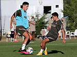 Atletico de Madrid's Nehuen Perez (l) and Juan Manuel Sarabia during training session. September 7,2020.(ALTERPHOTOS/Atletico de Madrid/Pool)