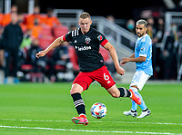 WASHINGTON, DC - APRIL 17: Russell Canouse #6 of D.C. United takes a shot during a game between New York City FC and D.C. United at Audi Field on April 17, 2021 in Washington, DC.
