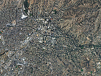aerial photo map of Santa Fe and the Sangre de Cristo Mountains, New Mexico, 2009.  For a more recent aerial photo map, please contact Aerial Archives.