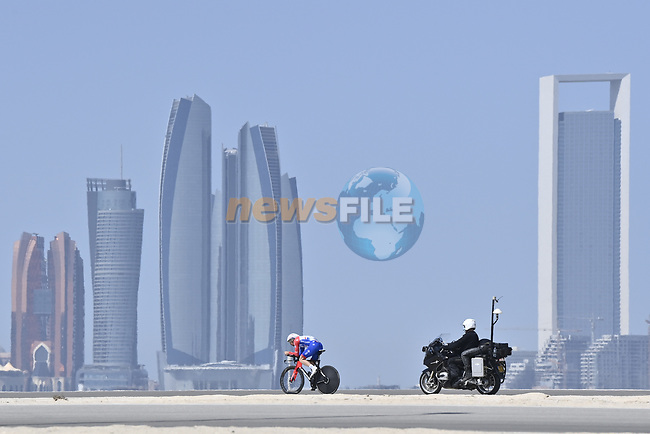 Matthieu Ladagnous (FRA) Groupama-FDJ is the first rider to start Stage 2 of the 2021 UAE Tour running 13km around Al Hudayriyat Island, Abu Dhabi, UAE. 22nd February 2021.  <br /> Picture: LaPresse/Fabio Ferrari | Cyclefile<br /> <br /> All photos usage must carry mandatory copyright credit (© Cyclefile | LaPresse/Fabio Ferrari)