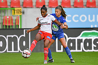 Essevee's Esther Buabadi pictured in a fight for the ball with Gent's Lyndsey Van Belle (14)  during a female soccer game between Zulte Waregem and the KAA Gent Ladies on the fourth matchday of the 2020 - 2021 season of Belgian Scooore Womens Super League , saturday 10 October 2020  in Waregem , Belgium . PHOTO SPORTPIX.BE | SPP | DAVID CATRY