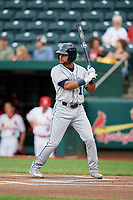 Corpus Christi Hooks left fielder Jason Martin (16) at bat during a game against the Springfield Cardinals on May 31, 2017 at Hammons Field in Springfield, Missouri.  Springfield defeated Corpus Christi 5-4.  (Mike Janes/Four Seam Images)