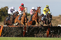Topenhall ridden by Charlie Poste (R) and Beausang ridden by Paul Moloney jump together during the Warrens of Warwick 34 Years Anniversary Handicap Hurdle - Horse Racing at Huntingdon Racecourse, Cambridgeshire - 16/10/12 - MANDATORY CREDIT: Gavin Ellis/TGSPHOTO - Self billing applies where appropriate - 0845 094 6026 - contact@tgsphoto.co.uk - NO UNPAID USE