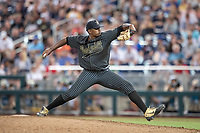Vanderbilt Commodores pitcher Kumar Rocker (80) delivers a pitch to the plate against the Michigan Wolverines during Game 2 of the NCAA College World Series Finals on June 25, 2019 at TD Ameritrade Park in Omaha, Nebraska. Vanderbilt defeated Michigan 4-1. (Andrew Woolley/Four Seam Images)