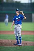 Ogden Raptors starting pitcher Brett de Geus (36) waits to receive the ball back from the catcher during a Pioneer League game against the Orem Owlz at Home of the OWLZ on August 24, 2018 in Orem, Utah. The Ogden Raptors defeated the Orem Owlz by a score of 13-5. (Zachary Lucy/Four Seam Images)