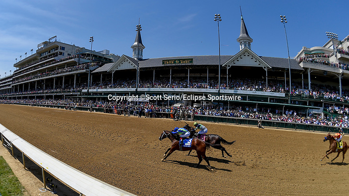 May 1, 2021 : Jackie's Warrior, #3, ridden by jockey Joel rosario, wins the Pat Day Mile on Kentucky Derby Day at Churchill Downs on May 1, 2021 in Louisville, Kentucky. Scott Serio/Eclipse Sportswire/CSM