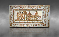 Picture of a Roman mosaics design depicting Dionysus drunk being transported on a chariot pulled by a centaur, they are followed by a Bacchante, follower of Bacchus, and a Satyr, from the ancient Roman city of Thysdrus. 3rd century AD House of Tertulla. El Djem Archaeological Museum, El Djem, Tunisia. Against a grey background