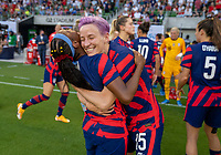 AUSTIN, TX - JUNE 16: Crystal Dunn #19 of the USWNT talks to Megan Rapinoe #15 before a game between Nigeria and USWNT at Q2 Stadium on June 16, 2021 in Austin, Texas.