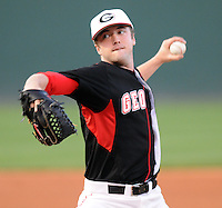 Pitcher Chase Hawkins (13) of the Georgia Bulldogs in a game against the Furman Paladins on Wednesday, March 2, 2011, at Fluor Field in Greenville, S.C.  Photo by Tom Priddy / Four Seam Images