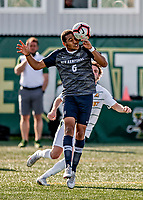 9 April 2021: University of New Hampshire Wildcat Men's Soccer Midfielder Yannick Bright, a Freshman from Milan, Italy, heads one forward in first-half action against the University of Vermont Catamounts at Virtue Field in Burlington, Vermont. The Wildcats defeated the Catamounts 2-1 in America East, Division 1 play. Mandatory Credit: Ed Wolfstein Photo *** RAW (NEF) Image File Available ***