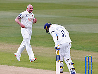 Kent's Darren Stevens celebrates after taking the wicket of Yorkshire's Tom Kohler-Cadmore during Kent CCC vs Yorkshire CCC, LV Insurance County Championship Group 3 Cricket at The Spitfire Ground on 15th April 2021