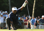 1 September 2008: Vijay Singh lines up a  putt during his final round 63 at the Deutsche Bank Golf Championship in Norton, Massachusetts. Singh won the event.