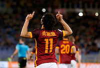 Calcio, Serie A:  Roma vs Palermo. Roma, stadio Olimpico, 21 febbraio 2016. <br /> Roma's Mohamed Salah celebrates after scoring his second goal during the Italian Serie A football match between Roma and Palermo at Rome's Olympic stadium, 21 February 2016.<br /> UPDATE IMAGES PRESS/Riccardo De Luca