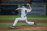 Somerset Patriots relief pitcher Barrett Loseke (5) in action against the Altoona Curve at TD Bank Ballpark on July 24, 2021, in Somerset NJ. (Brian Westerholt/Four Seam Images)