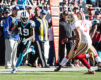 The Carolina Panthers played the San Francisco 49ers at Bank of America Stadium in Charlotte, NC in the NFC divisional playoffs on January 12, 2014.  The 49ers won 23-10.  Carolina Panthers wide receiver Ted Ginn (19)