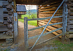 "Great Smoky Mts. National Park, TN/NC<br /> Log corn crib and gate at ""The Tipton place"" farm site in Cades Cove"