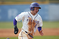 Adam Stuart (47) of the High Point Panthers hustles towards third base against the Bryant Bulldogs at Williard Stadium on February 21, 2021 in  Winston-Salem, North Carolina. The Panthers defeated the Bulldogs 3-2. (Brian Westerholt/Four Seam Images)