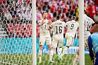 COPENHAGEN, DENMARK - JUNE 17 : Thorgan Hazard midfielder of Belgium and Kevin De Bruyne forward of Belgium after goal during the 16th UEFA Euro 2020 Championship Group B match between Denmark and Belgium on June 17, 2021 in Copenhagen, Denmark, 17/06/2021 <br /> Photo Photonews / Panoramic / Insidefoto <br /> ITALY ONLY