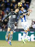 CD Leganes' David Timor (r) and Celta de Vigo's Nemanja Radoja during La Liga match. January 28,2017. (ALTERPHOTOS/Acero)
