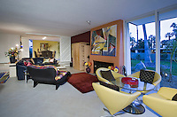Mid-century living room with fireplace