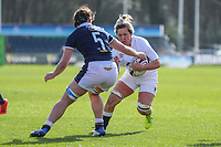 Marlie Packer of England runs into Louise McMillan of Scotland during the Guinness Six Nations match between England Women and Scotland Women at Castle Park Stadium, Doncaster, England on 3 April 2021. Photo by Thomas Gadd / PRiME Media Images.