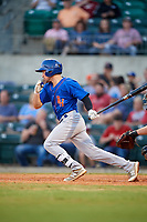 Midland RockHounds third baseman Jordan Tarsovich (5) follows through on a swing during a game against the Arkansas Travelers on May 25, 2017 at Dickey-Stephens Park in Little Rock, Arkansas.  Midland defeated Arkansas 8-1.  (Mike Janes/Four Seam Images)