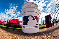 22 February 2019: A Rawlings Baseball Bucket sits ready during a Washington Nationals Spring Training workout at the Ballpark of the Palm Beaches in West Palm Beach, Florida. Mandatory Credit: Ed Wolfstein Photo *** RAW (NEF) Image File Available ***