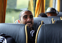 Wednesday 28 August 2013<br /> Pictured: Chico Flores on the team bus en route to Cardiff Airport.<br /> Re: Swansea City FC players and staff en route for their UEFA Europa League, play off round, 2nd leg, against Petrolul Ploiesti in Romania.