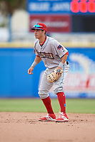 Clearwater Threshers second baseman Jose Gomez (3) during a game against the Dunedin Blue Jays on April 8, 2018 at Dunedin Stadium in Dunedin, Florida.  Dunedin defeated Clearwater 4-3.  (Mike Janes/Four Seam Images)