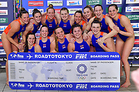 Players of Netherlands celebrate the victory of the semi final and the qualification for Tokyo 2020 Olympic games <br /> Netherlands NED Vs Greece GRE <br /> Semifinal 1st-4th place  <br /> Trieste (Italy) 23/01/2021 Bruno Bianchi Aquatic Center <br /> Fina Women's Water Polo Olympic Games Qualification Tournament 2021 <br /> Photo Andrea Staccioli / Deepbluemedia / Insidefoto