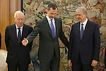 King Felipe VI of Spain (C) receives Abdelmalek Sellal, Prime Minister of Algeria, and Jose Manuel Garcia-Margallo during an official meeting at Zarzuela Palace in Madrid, Spain. July 21, 2015. (ALTERPHOTOS/Victor Blanco)