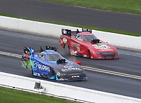 Aug 9, 2020; Clermont, Indiana, USA; NHRA funny car driver Paul Lee (near) alongside Dale Creasy Jr during the Indy Nationals at Lucas Oil Raceway. Mandatory Credit: Mark J. Rebilas-USA TODAY Sports