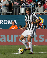 Foxborough, Massachusetts - July 30, 2017: In 2017 International Champions Cup (ICC United States) match, Juventus (black/white) defeated Roma (imperial purple), 2-1, 1-1 at end of regulation and 5-4 after penalty kicks, at Gillette Stadium.
