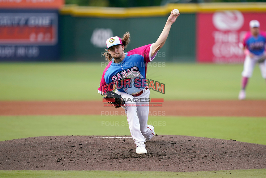 """Starting pitcher Chris Murphy (18) of the Greenville Drive during a game against the Asheville Tourists on Saturday, June 5, 2021, at Fluor Field at the West End in Greenville, South Carolina. Drive players were wearing jerseys for the """"Ranas de Rio de Greenville"""" (Greenville River Frogs), as part of Minor League Baseball's """"Copa de la Diversion."""" (Tom Priddy/Four Seam Images)"""