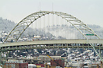 Freemont Bridge and West Hills in snow, Portland, Oregon