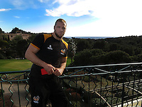 Photo: Richard Lane/Richard Lane Photography. Wasps rugby team and supporters travel to Toulon for the RC Toulon v Wasps.  European Rugby Champions Cup Quarter Final. 04/04/2015. Wasps captain, James Haskell at the team hotel.