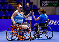 Rotterdam, Netherlands, December 15, 2017, Topsportcentrum, Ned. Loterij NK Tennis, Semi final wheelchair doubles woman, Ilse van de Burgwal (NED) (L) and Maike Derks-Snellenberg (NED)<br /> Photo: Tennisimages/Henk Koster