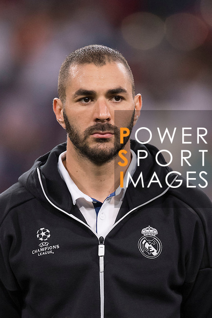 Karim Benzema of Real Madrid poses for photos during their 2016-17 UEFA Champions League match between Real Madrid vs Sporting Portugal at the Santiago Bernabeu Stadium on 14 September 2016 in Madrid, Spain. Photo by Diego Gonzalez Souto / Power Sport Images