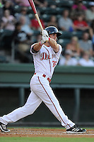 Right fielder Cole Sturgeon (35) of the Greenville Drive bats in a game against the Augusta GreenJackets on Thursday, July 10, 2014, at Fluor Field at the West End in Greenville, South Carolina. Sturgeon is a tenth-round pick of the Boston Red Sox in the 2014 First-Year Player Draft out of the University of Louisville. Augusta won, 8-2. (Tom Priddy/Four Seam Images)
