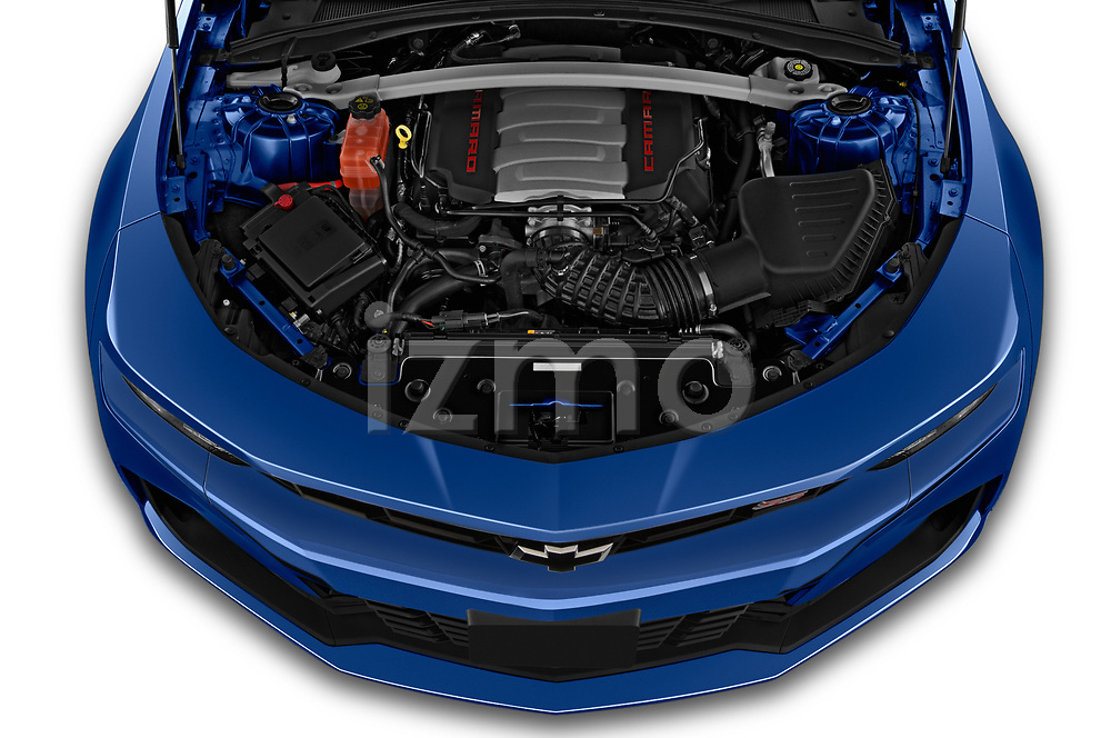 Car Stock 2020 Chevrolet Camaro 1SS 2 Door Convertible Engine  high angle detail view