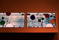 F.L. Wright: Clerestory Windows, Avery Coonley Playhouse 1982. Colored, opalescent & clear leaded glass, Museum of Modern Art, N.Y.   Photo '88.