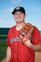 Erie SeaWolves pitcher Beau Burrows (33) poses for a photo before a game against the Binghamton Mets on May 14, 2018 at NYSEG Stadium in Binghamton, New York.  Binghamton defeated Erie 6-5.  (Mike Janes/Four Seam Images)