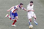 Atletico de Madrid's Saul Niguez (l) and Real Madrid's Daniel Carvajal during La Liga match.February 7,2015. (ALTERPHOTOS/Acero)