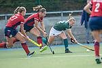 Mannheim, Germany, October 18: During the 1. Bundesliga women fieldhockey match between Mannheimer HC (red) and Uhlenhorst Muelheim (green) on October 18, 2020 at Am Neckarkanal in Mannheim, Germany. Final score 1-0 (HT 0-0). (Copyright Dirk Markgraf / www.265-images.com) *** Isabella Schmidt #30 of Mannheimer HC, Toni Meister #32 of Uhlenhorst Muelheim